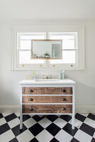 Chest of drawers with undermount sink below window