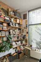 Plants, magazines, books and knick-knacks on wall-mounted shelves