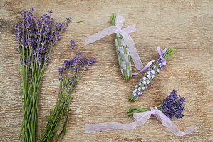Lavender flowers and woven lavender wands