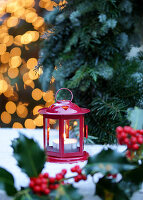Red candle lantern on snow with holly branches in foreground