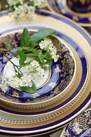 Bird cherry blossom on antique crockery