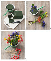 Instructions for making arrangement of tulips, jatropha and agapanthus