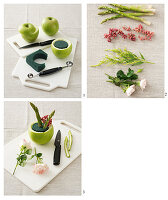 Instructions for arrangement with roses and asparagus in a green apple