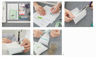 Instructions for making hand-sewn and labelled herbal sachets