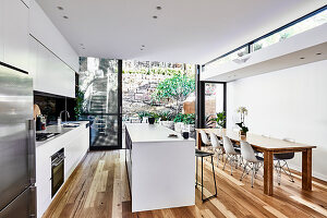 Open-plan kitchen in modern interior with glass wall opening onto garden