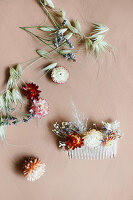 Dried flowers stuck on decorative hair comb