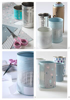 Making pen holders by covering tin cans with paper