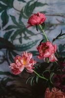 Rosa blühende Pfingstrosen vor Wandtapete mit Blättermotiven