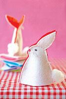 Handmade, two-tone, felt bunny egg warmer