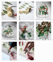 Instructions for making acorns from marbles
