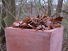 Terracotta-Kübel mit Herbstlaub
