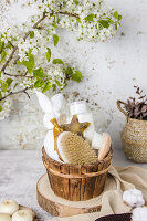Bathroom accessories and flowering tree branch