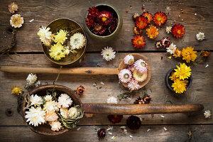 Stilleben mit Strohblumen-Blüten und alten Holzschöpfern
