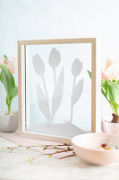 Framed silhouette of tulips