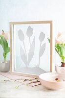Schattenbild mit Tulpen