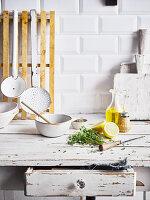 Still-life arrangement in shabby-chic kitchen