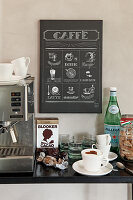 Coffee machine, cappuccino cup and mineral water below poster of types of coffee