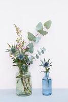 Eukalyptus, Mannstreu und Waxflower in Glasflaschen