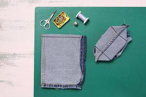 Utensilo aus Jeansstoff selbermachen