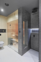 Fitted sauna in large, grey modern bathroom
