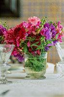 Flower arrangement in glass vase