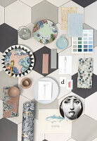Moodboard in pastel shades on grey honeycomb floor tiles