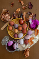 Easter eggs dyed using onion skins and flowers