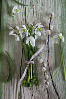 Posy of snowdrops on wooden surface