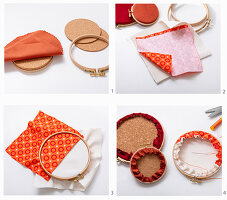 Instructions for making wall decorations by covering embroidery rings with corduroy