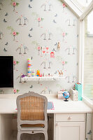 White desk in girl's bedroom