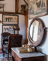 1830's French Empire table with antique mirror and lamp on writing desk