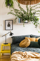 Houseplants and double bed in the bedroom in shades of yellow and green