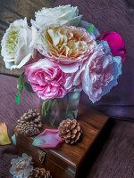 Bouquet of roses in pastel tones