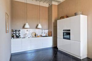 White designer elements in modern kitchen