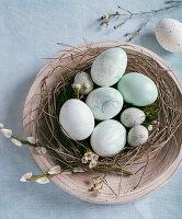 Marbled Easter eggs in nest