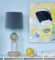 DIY table lamp made of relief glass