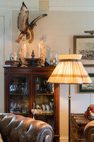 Floor lamp and stuffed bird above glass cabinet