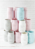 Jars decorated with matt paint