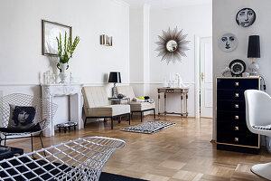 Elegant living room with designer furniture and parquet floor