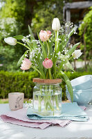 Easter bouquet of tulips and gypsophila