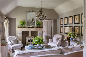 Woodburner and cut glass chandelier with botanical prints