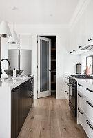 Open pantry door in classic monochrome kitchen