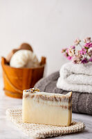 Handmade, natural soap made with lavender oil and aronia powder