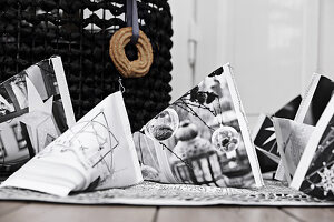 Gift bags with black-and-white photographic prints