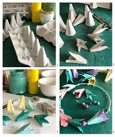 Making a wreath from egg cartons