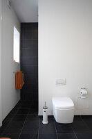 Toilette an weißer Wand, im Hintergrund Handtuchhalter