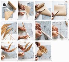 Palmenblätter aus Packpapier herstellen