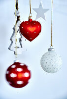 Christmas decorations in red and white