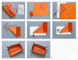 Schreibtischutensilo aus Leder herstellen