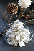 Craft idea with Christmas tree made from old book pages